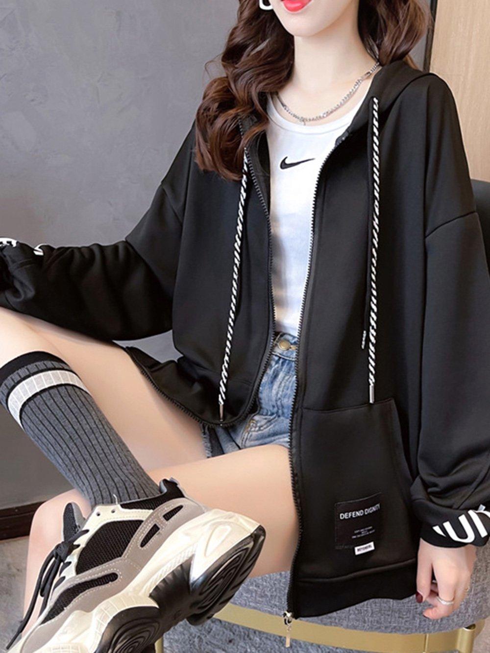 【広州仕入れ】袖ロゴ入り パーカー付きジャケット