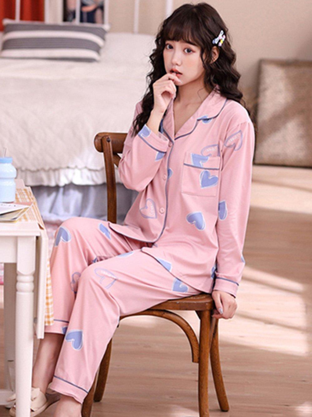 【広州仕入れ】ハート柄 長袖パジャマ