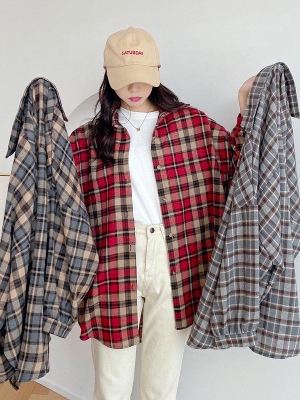 【広州仕入れ】ランタンスリーブラージサイズチェック柄シャツ