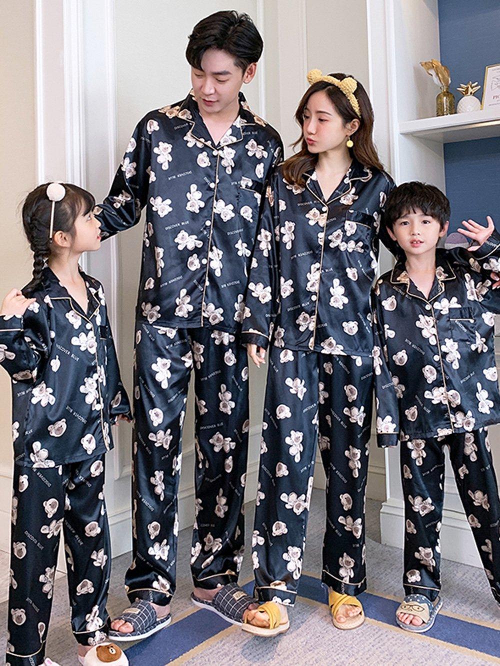 【広州仕入れ】親子コーデ テディベア柄 長袖パジャマ