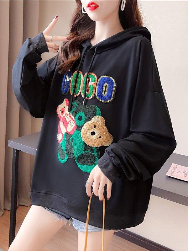 【広州仕入れ】クマ刺繍スパンコールロゴ入りフード付きセーター