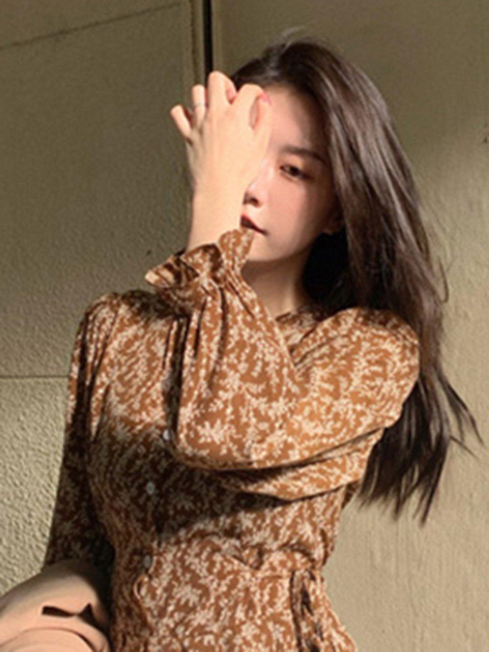【広州仕入れ】キャンディスリーブ 花柄Vネックシャツワンピース