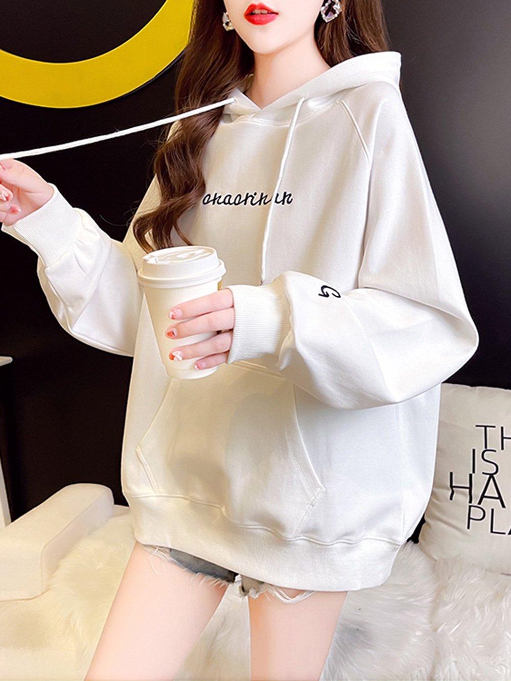 【広州仕入れ】刺繍入りフード付きセーター