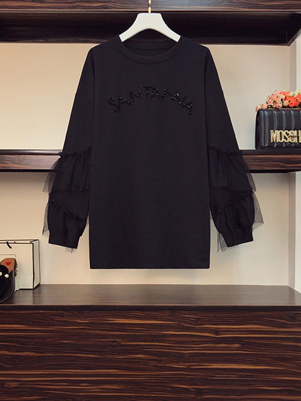 【広州仕入れ】袖フリル付き ラウンドネックセーター