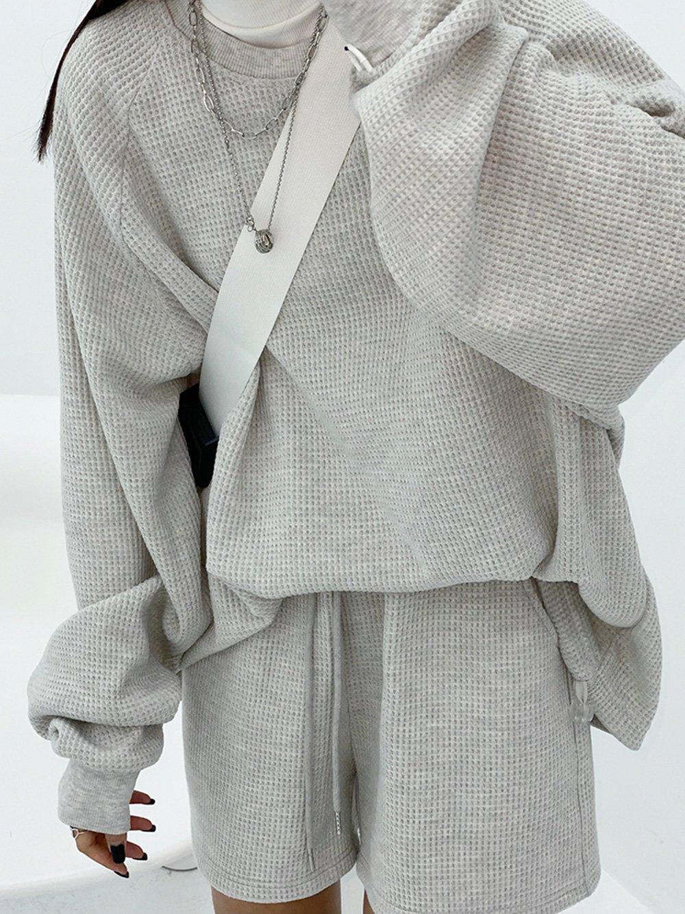 【広州仕入れ】無地セットアップ 長袖トップスショートパンツ
