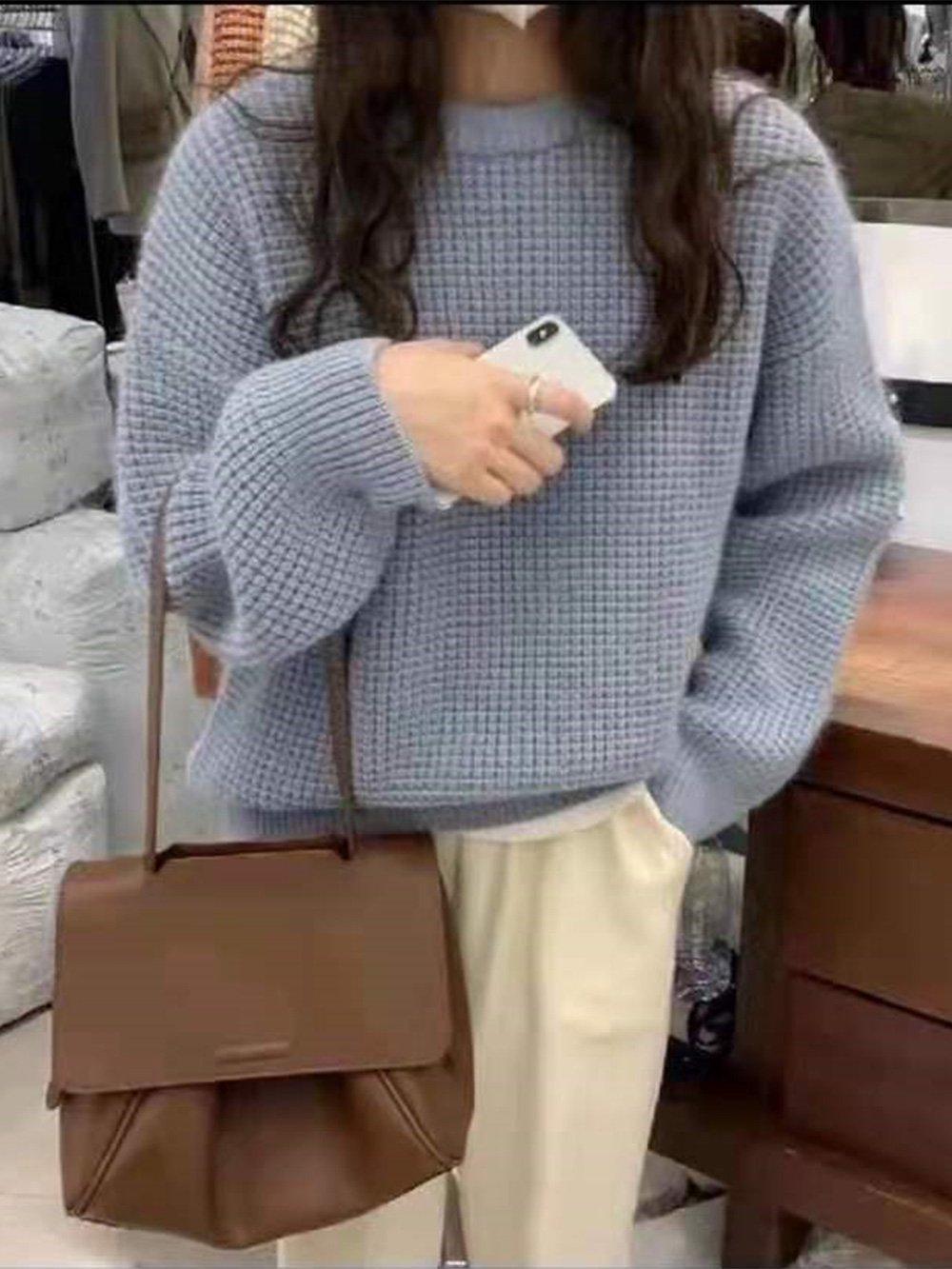 【広州仕入れ】無地ルーズラウンドネックセーター
