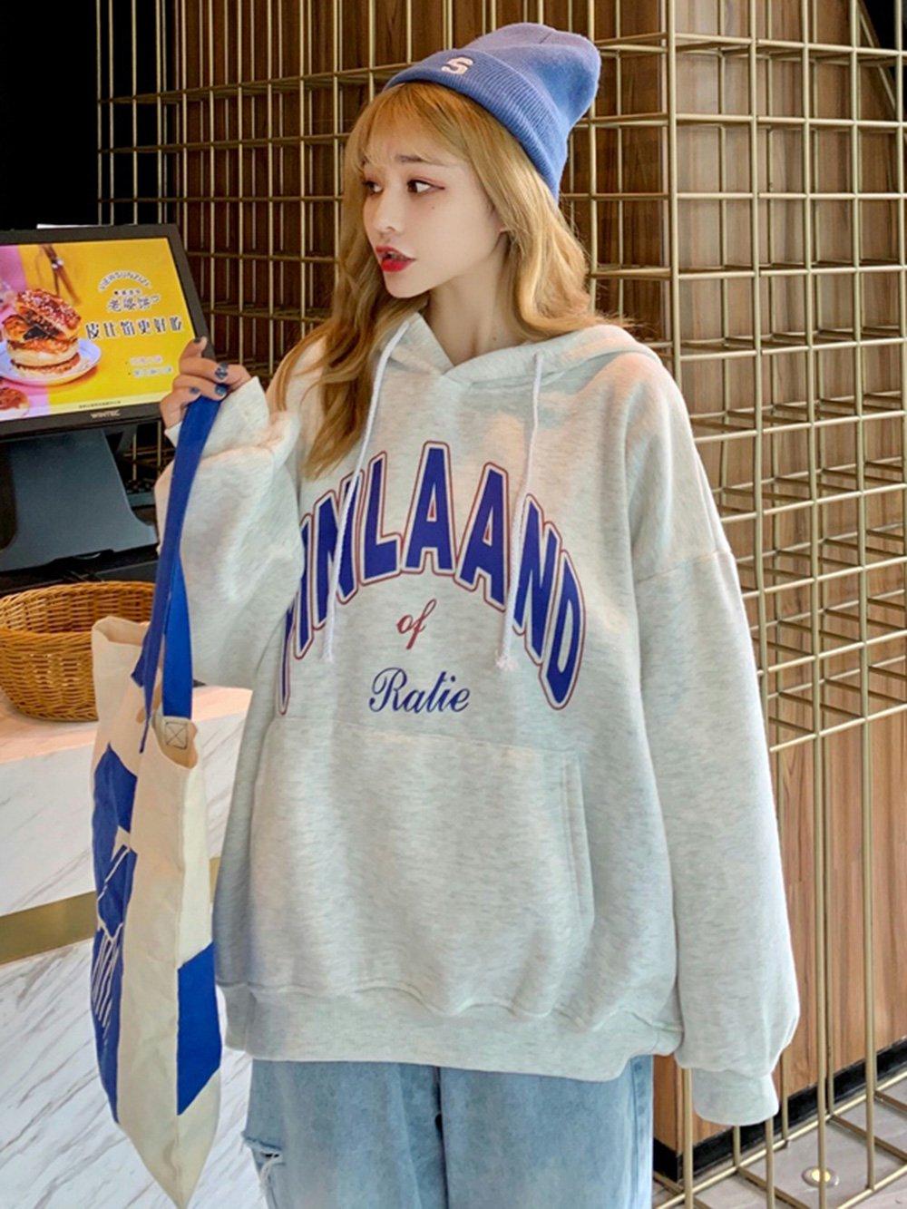 【広州仕入れ】プリント入り オーバーサイズフード付きセーター