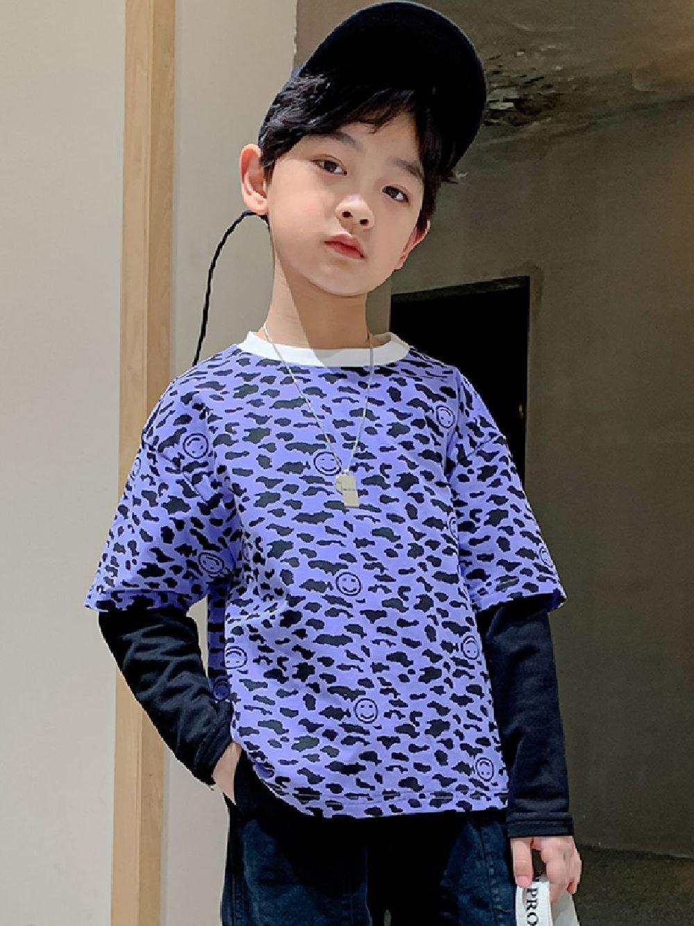 【広州仕入れ】キッズスマイルマークロングTシャツ