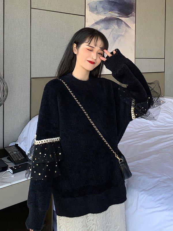 【広州仕入れ】フェザーヤーンラウンドネック袖切り替えセーター