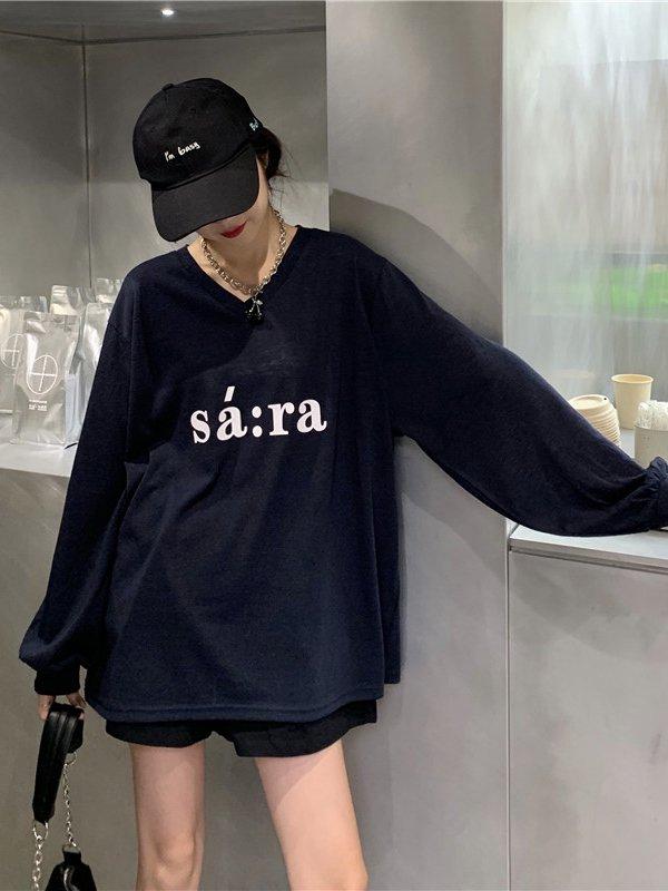 【広州仕入れ】ビッグシルエットデザイン長袖Tシャツ