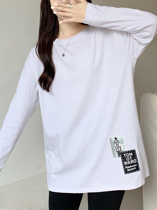 【広州仕入れ】オーバーサイズワンポイント長袖Tシャツ