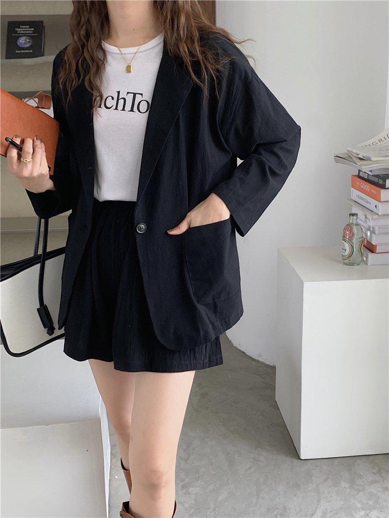 【広州仕入れ】コットン&リネンカジュアルジャケット+ショートパンツ