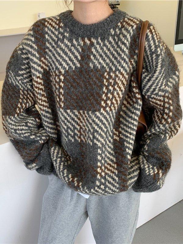 【広州仕入れ】チェック柄 ラウンドネック長袖セーター