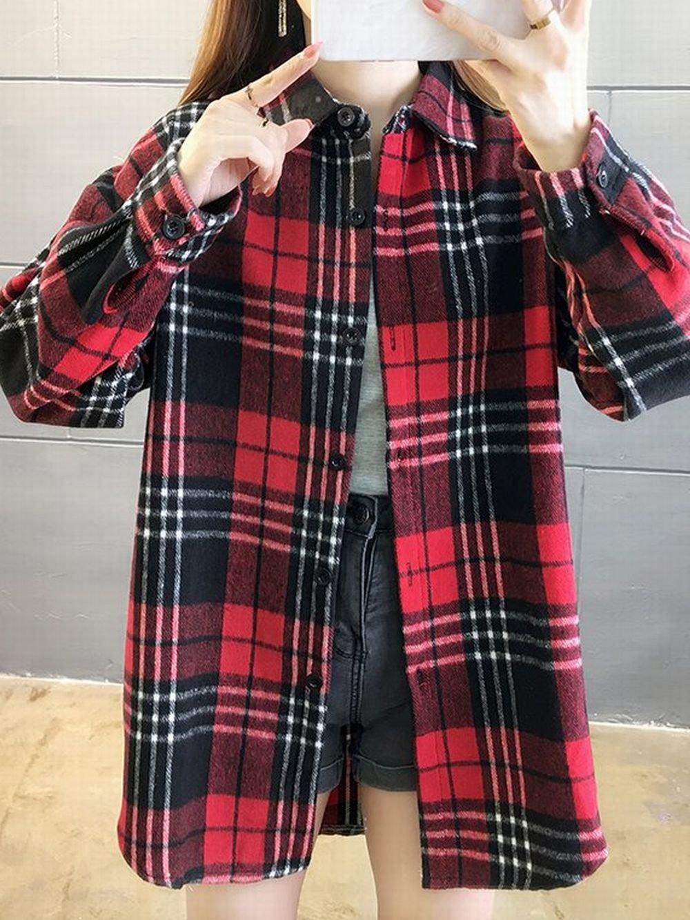 【広州仕入れ】ミドル丈チェック柄シャツ