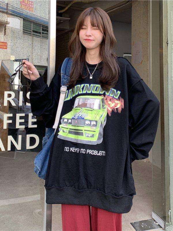 【広州仕入れ】ビッグシルエット グラフィック長袖Tシャツ