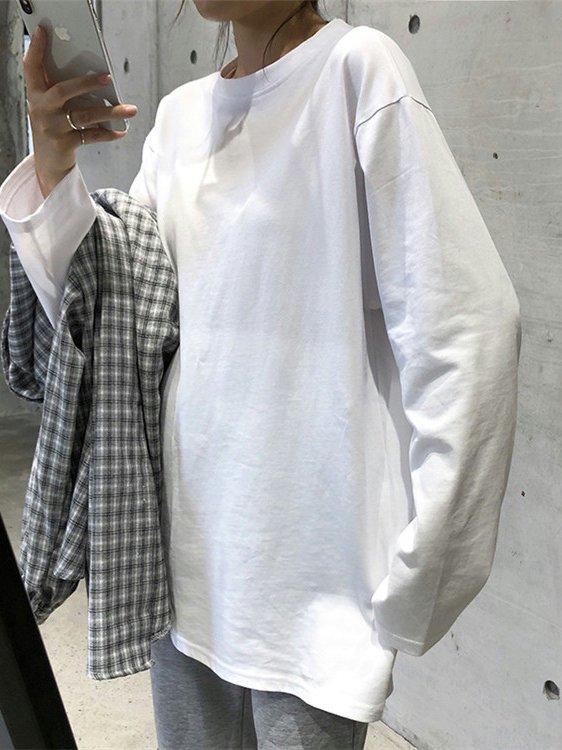 【広州仕入れ】ラウンドネック無地長袖Tシャツ