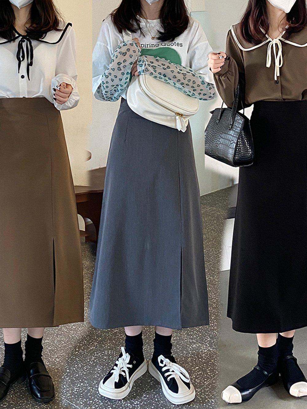 【広州仕入れ】スリット入りミドル丈トラペーズスカート