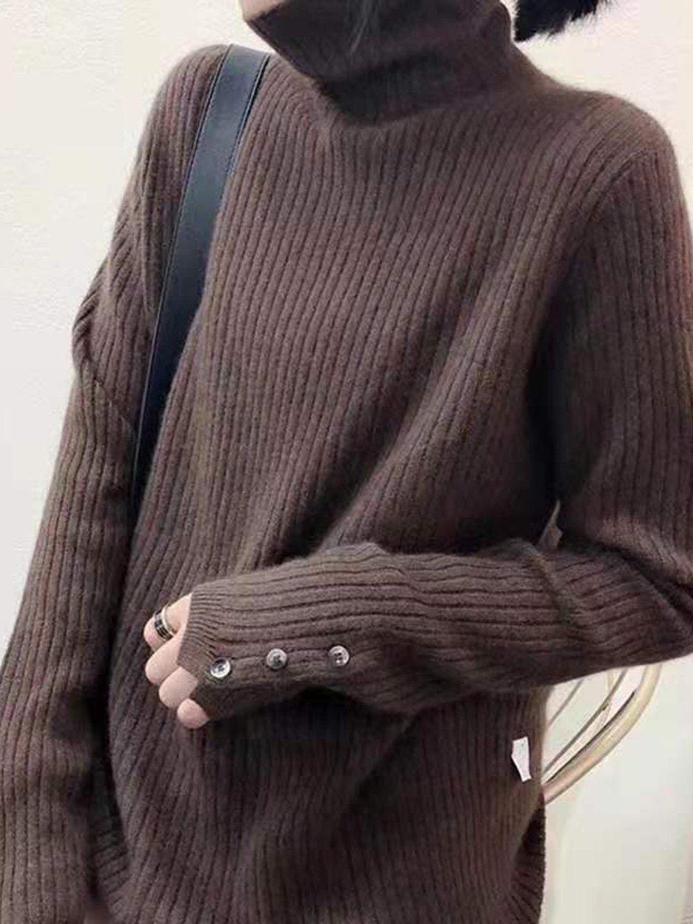 【広州仕入れ】タートルネック袖ボタン付きリブセーター