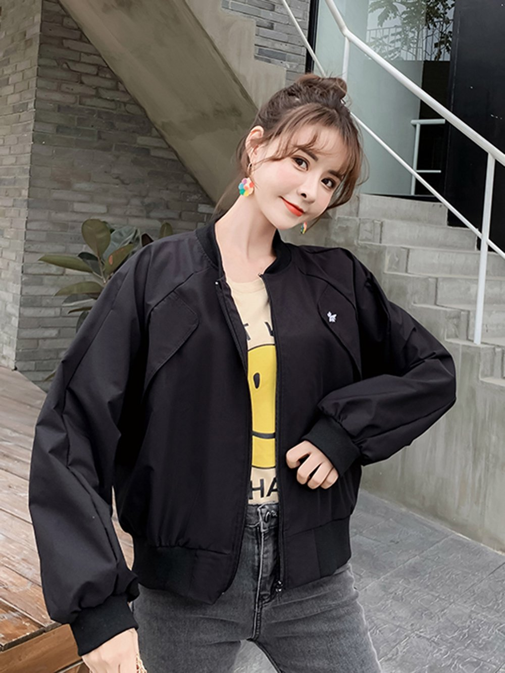 【広州仕入れ】バックロゴイラスト入りスラントポケットジャケット