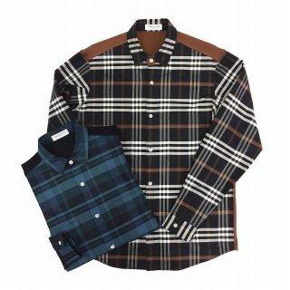 TOMORROWLAND トゥモローランド メンズ ニットコンビ チェックシャツ