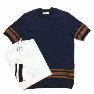 TOMORROWLAND トゥモローランド メンズ ヘムストライプ ニットTシャツ