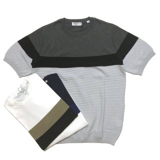 TOMORROWLAND トゥモローランド メンズ パネルストライプ ニットTシャツ