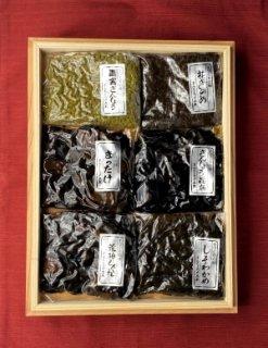 木箱詰合せ (松茸佃煮、花きのめ、あかね昆布、しそわかめ、さんしょうの実、荒神しぐれ)