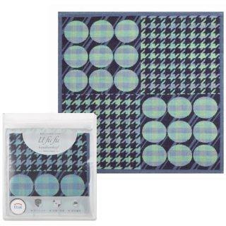 【メール便可】Ufufu 今治うまれの3重ガーゼハンカチ 抗ウイルス加工 丸ちどり ブルー(UFFH-081 BL)