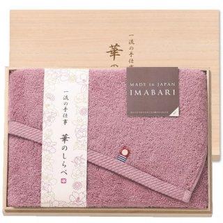 一流の手仕事 華のしらべ 日本製 愛媛今治 木箱入りフェイスタオル パープル(63320)