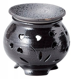 茶香炉 ハート形  黒 茶香炉