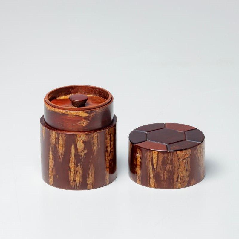 総皮茶筒(細型小)天亀甲(荒川慶太郎 作)