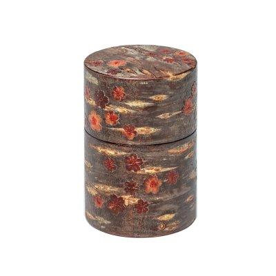 総皮茶筒(大)紅山桜