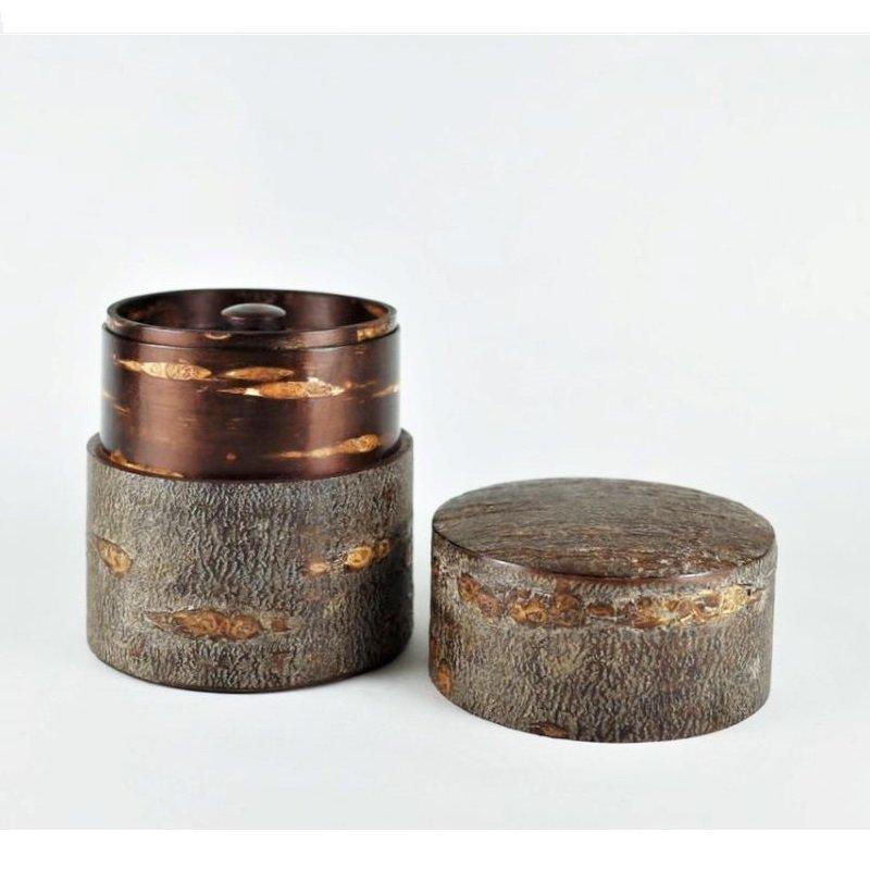 総皮茶筒(平)霜降皮
