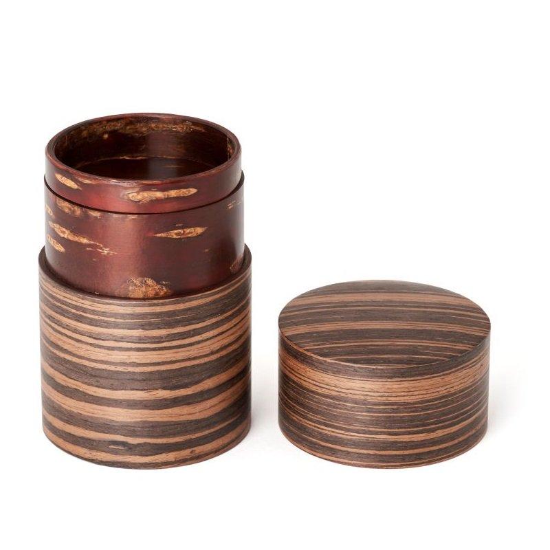 帯筒 茶筒(大)黒檀柾目