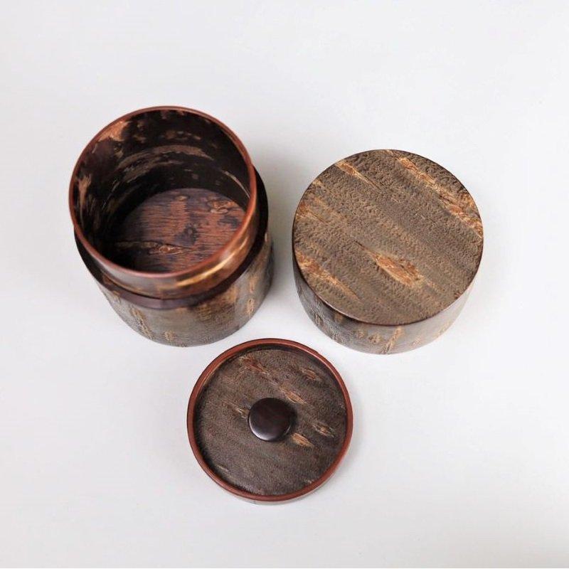 総皮茶筒(細型小)霜降皮(荒川慶太郎 作)
