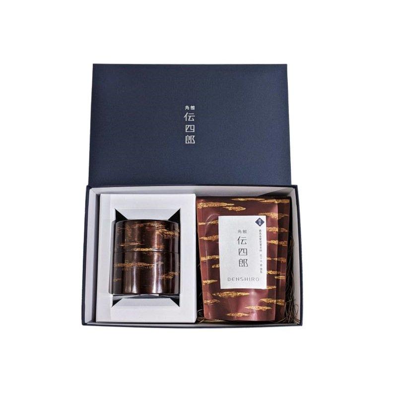 オリジナル茶・茶筒セット【茶筒(平)無地皮】