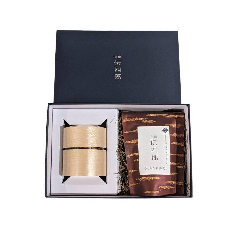 オリジナル茶・茶筒セット【帯筒(平)かえで】