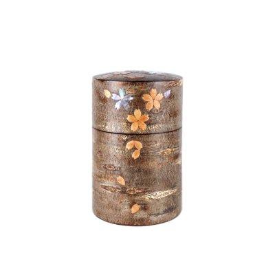 総皮茶筒(中長)霜降皮 貝入散花