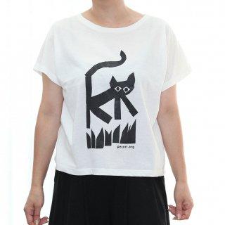 【ゆったりドルマンタイプ】草むらを散歩する猫Tシャツ