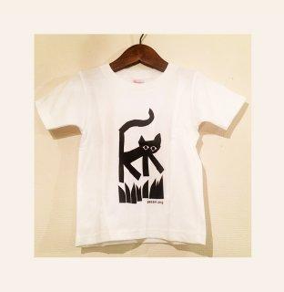 【キッズ】草むらを散歩する猫Tシャツ