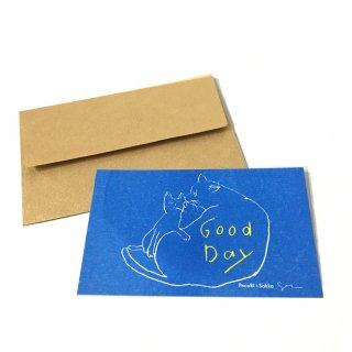 ちょっとしたお礼やお祝い、誕生日などメッセージカード 水色に金の封筒