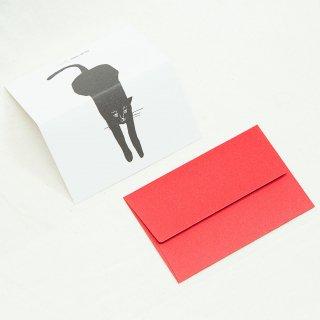 ちょっとしたお礼やお祝い、誕生日などメッセージカード 2つ折り白地に赤の封筒