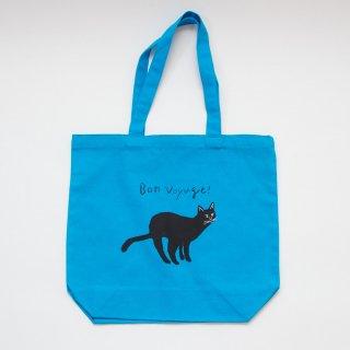 鮮やかな青色が映える黒猫のコットンバッグ