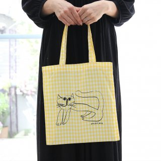 ほのぼのとした猫柄のバッグ 黄チェック