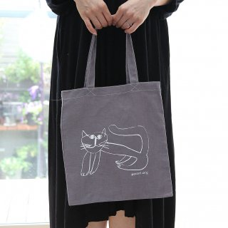 ほのぼのとした猫柄のバッグ 麻バッグ