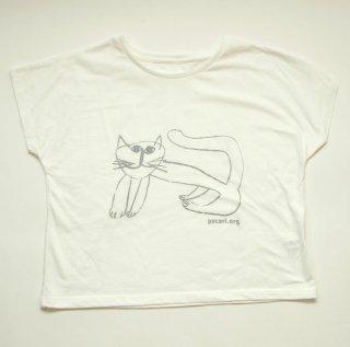 【ゆったりドルマンタイプ】 ほのぼのとした猫柄Tシャツ