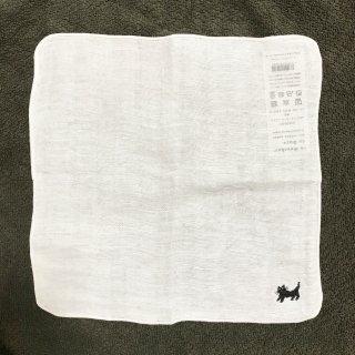 mitsou黒猫刺繍のリネンガーゼ ハンカチ