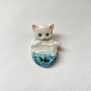 【うつわやみたす】陶器ブローチ 金魚鉢
