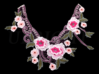 刺繍・レース ネックライン モチーフ(C2354)