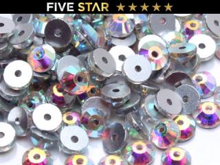 ラインストーン(ガラスストーン) SEW-ON(縫付タイプ)オーロラ(AB)6mm